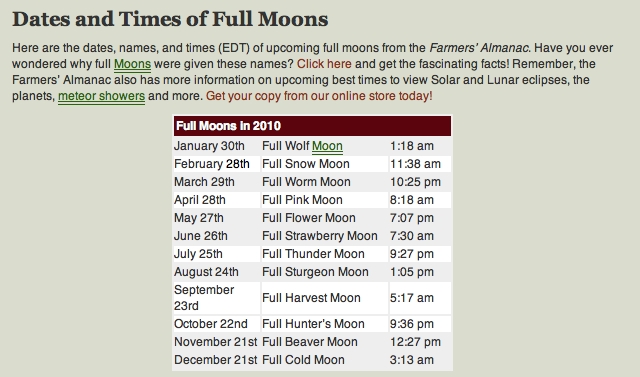 Maine Farmer's Almanac moon names for 2010. What's wrong with this picture?