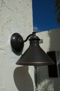The smaller Dovray fixture for the front entry door. Only $15 at Lowe's!