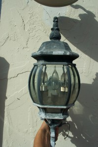 The glare bombs in front. At least the top of the fixture is metal, so the light can only go diagonally upward!