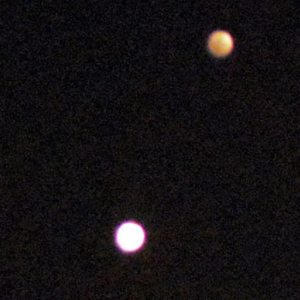 Venus in close conjunction with Jupiter. June 30, 2015.
